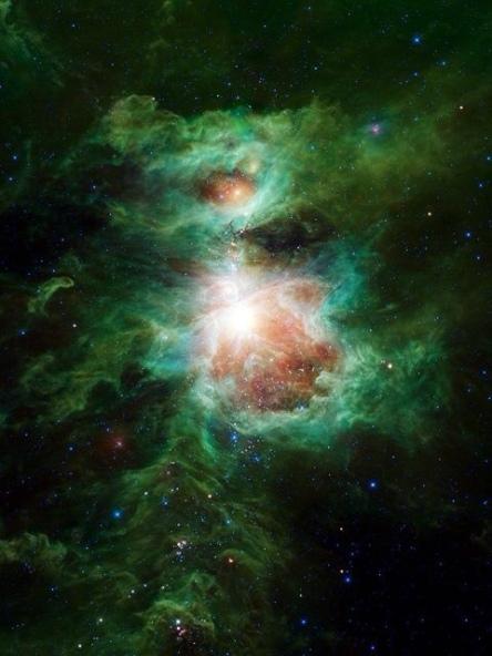 Galaxy-w-stars.greenish-tone