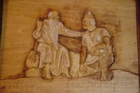 OlafTryggvason-hears-Gospel.wood-sculpture